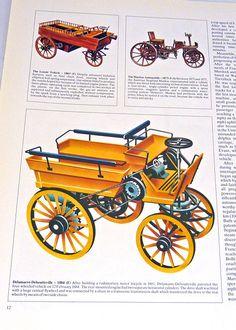 Vintage car print Delamarre Deboutteville 1884
