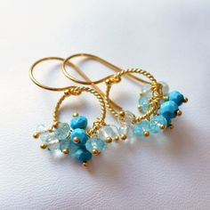 NEW Blue Turquoise Earrings Aqua Apatite and by livjewellery