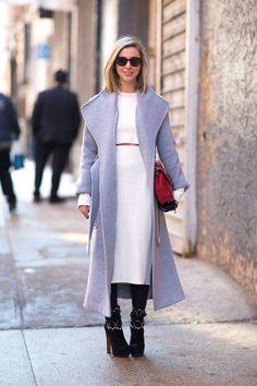 Kerry Pieri in Alaia shoes, Theyskens Theory coat, Saint Laurent bag, New York Fashion Week Street Style [Photo: Diego Zuko]