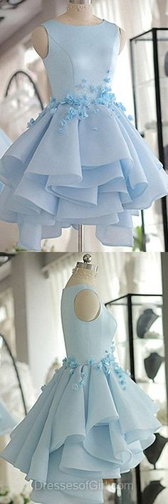 Sparkly Prom Dress, Sky Blue Homecoming Dress,A-line Scoop Neck Prom Dress,Satin Tulle Short Flowers Original Prom Dresses,Mini Dress These 2020 prom dresses include everything from sophisticated long prom gowns to short party dresses for prom. Prom Dresses 2018, Modest Dresses, Trendy Dresses, Cute Dresses, Formal Dresses, Dress Prom, Wedding Dresses, Party Dresses, Sky Blue Dresses