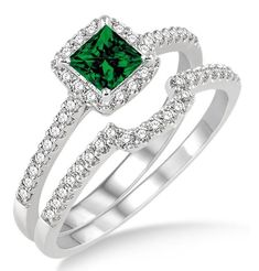 1.5 Carat Emerald & Diamond Halo Bridal Set on 10k White Gold. The vintage Emerald and diamond bridal wedding ring set for woman is now available at sale price for limited time. The order comes with free shipping. Give her the perfect Emerald and diamond engagement ring set. | Price: $639.00 USD on Shygems