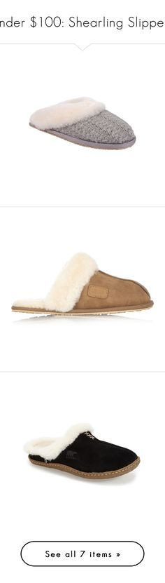 """""""Under $100: Shearling Slippers"""" by polyvore-editorial ❤ liked on Polyvore featuring under100, shearlingslippers, Topshop, Patricia Green, Australia Luxe Collective, SOREL, UGG Australia, shoes, grey and patricia green shoes"""