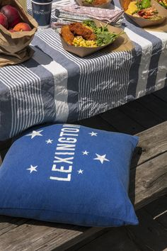 Summer Home 2018 Lexington Sham Blue. Skies brimming with stars and cool summer nights are key ingredients for the dreamer so we've brought the stars to you with this embroidered cotton and twill piece. Finished with a zipper closure at the bottom. Inner cushion is not included.