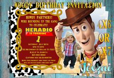 Toy Story Invitation | Toy Story Birthday Invitation | Toy Story Printable | Toy Story Photo Invitation | Woody Invitation by JexzaiCC on Etsy https://www.etsy.com/listing/501738687/toy-story-invitation-toy-story-birthday