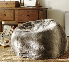 Awesome way to update an old favourite! Faux Fur Beanbag - Gray | Pottery Barn