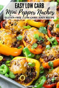 Jan 2020 - These Easy Low Carb Nachos are perfect for meal prep and they're gluten-free! Mexican stuffed peppers with lean ground beef, black beans, tomatoes, green chilies and a zesty blend of Mexican spices. Lean Protein Meals, High Protein, Mexican Stuffed Peppers, Low Carb Nachos, Green Pepper Recipes, Lean And Green Meals, Clean Eating, Healthy Eating, Ground Beef Recipes Easy