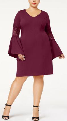 0ab56d1ee2af Plus Size Bell-Sleeve Dress Trendy Plus Size