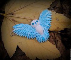 """Купить Кулон  """"Морозная сова"""" из полимерной глины - голубой, сова в подарок, сова кулон, совушка"""