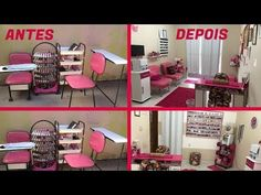 ♥ Cantinho da Vivi # 3 - YouTube Nail Salon Design, Home Nail Salon, Nail Saloon, Makeup Studio Decor, Beauty Room Salon, Lash Room, Manicure Y Pedicure, Small Spaces, Toddler Bed