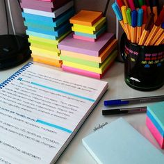 Colorful Sticky Notes, Colorful Pens, Neat Aesthetic