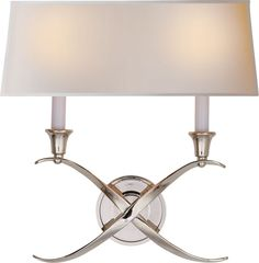 Limited Production Design & Stock: Criss-Cross Candle Wall Light * Polished Nickel, Parchment Shade * 14 x 15 x 5 inches * Partner Table Lamps Available