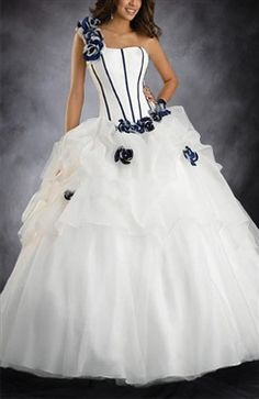Pure and lovely, Ruffles Ball Gown One Shoulder Floor-length Sleeveless Quinceanera Dresses (Style Code: 05321) $194.00