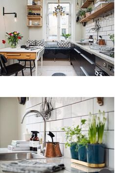 I love the backsplash and the lightbulb on the wall.