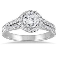 1 1/4 Carat Diamond Split Shank Halo Engagement Ring in 14K White Gold
