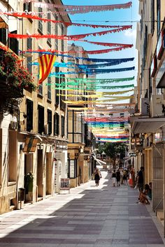Street in Mahon, Menorca_ Spain