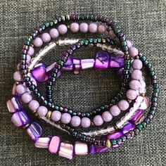 Bohemian Jewellery, Glass Beads, Etsy Seller, Beaded Necklace, Jewelry Making, Pearls, Boho, Purple, Bracelets