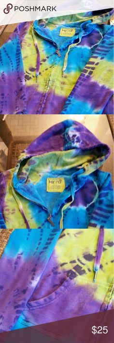 Tie dye kirra swearshirt EUC! Kirra zip hoodie, tie dyed bright colors of blue, purple and lime green/yellow. So comfy and cute! Absolutely love this, I'm only selling bcuz its to small. It's even more beautiful in person. So unique and can be worn dressed up to go out or it's cozy enough to wear in! Ask for measurements if you don't know your size in this brand! (Looking for bigger size, preferably medium but will take large) smoke/pet free environment. I trade. Kirra Tops Sweatshirts…