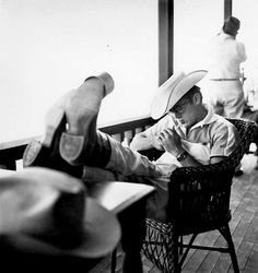 "James Dean during the filming of ""Giant"""