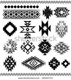 Hand - Drawn look Aztec - Navajo - Indian vector pattern pages - stock . Motif Navajo, Navajo Pattern, Navajo Rugs, Navajo Art, Native American Patterns, Native American Design, Tribal Patterns, Beading Patterns, Motifs Aztèques