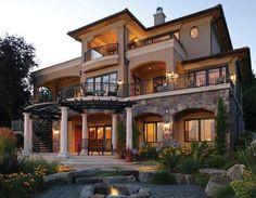 70 Most Popular Dream House Exterior Design Ideas - Ideaboz Dream Home Design, My Dream Home, House Design, Deck Design, Design Design, Villa Plan, Luxury Homes Dream Houses, Dream Homes, Dream Mansion