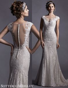 Quinlynn, a glamorous illusion back wedding dress by Sottero and Midgley.