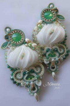 earrings ' Sea Breeze ' shibori silk and soutache designed by Mhoara Jewels