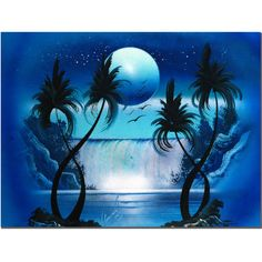 Trademark Art 'Moon Over the Waterfall I' by Conrad Painting Print ...
