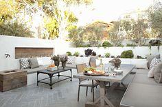 Eric Olsen Design - decks/patios - u shaped sectional, outdoor sectional, outdoor sectional sofa, u shaped bench, gray seat cushions, gray p...