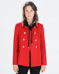 Zara Red Double Breasted Short Coat - Beautiful Wardrobe