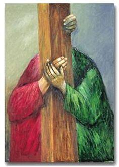 Ayudame Señor a cargar mi cruz con mas amor, con mas paciencia Jesus and Simon the Cyrene, Sieger Koder Catholic Art, Religious Art, Religious Icons, Jesus Father, Bible Illustrations, Biblical Art, Jesus On The Cross, Good Friday, Sacred Art