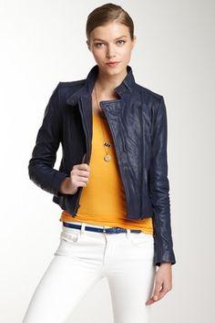 Lamb Leather Asymmetrical Jacket on HauteLook