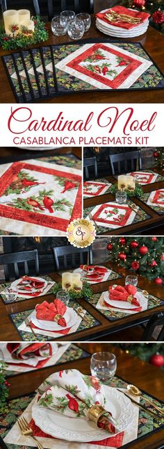 "Set a classic dining experience with these 6 placemats in the Cardinal Noel collection, which combine traditional designs and rich colors, beautifully framing each place setting! Using the quilt as you go Casablanca Batting Placemat Kit by June Tailor, this beginner friendly project comes together quickly! Each kit makes six placemats each measuring approximately 15"" x 19""."