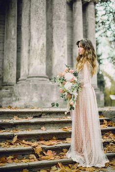 Blush wedding dress with overlay   Antonova Kseniya Photography   see more on: http://burnettsboards.com/2015/12/romantic-bridal-session/