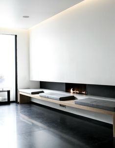 Interior Architecture - Minimalist -Very simple, empty wall -Clean Surfaces, neutral colors -Symmetrical Balance Interior Design Examples, Interior Design Inspiration, Home Interior Design, Interior Architecture, Minimal Architecture, Luxury Interior, Modern Fireplace, Living Room With Fireplace, Fireplace Design