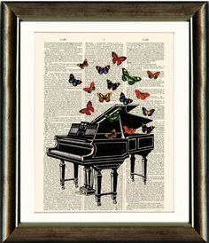 This Artwork has been printed directly onto an antique dictionary page. The Antique page was salvaged from a large Dictionary published. each page is a 'one of a kind' piece of artwork. Book Page Art, Old Book Pages, Old Books, Antique Books, Vintage Images, Unique Art, Piano, Art Pieces, Butterfly