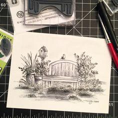 Art Impressions watercolor handmade card. Amazing monochromatic coloring.  wood bench, birdhouse, flowers, pot, foliage, birds, grass