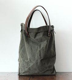 Canvas  Leather Tote - Brook Farm General Store