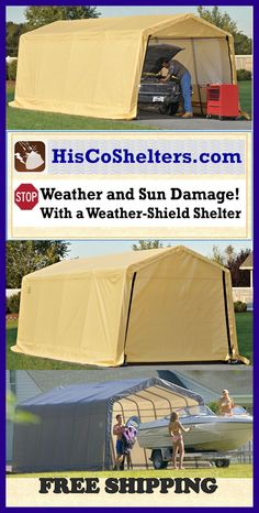 Shelter Logic Portable Garage **The Workshop Garage you've always wanted! **Fitted Triple-layer, Stoprip Fabric UV Treated **Prices from $397 **See more at http://www.hiscoshelters.com/  **Come check out our website explore what we have because there are free shipping both ways you can feel comfortable you are going to get good purchase from us. #garage #shelter #portablegarage