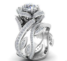 2.51CT Russian Lab Diamond Engagement Promise Wedding Floral Ring Bridal Set