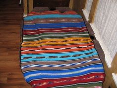 Indian Blanket - this ones a free pattern, it's just sc's throughout, alternating variegated & solid colors..