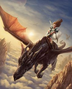f High Elf Fighter Plate Armor Sword flying Young Dragon Mount In a land far far away by `lithriel on deviantART Fire Dragon, Dragon Art, Fantasy Creatures, Mythical Creatures, Dragon Dreaming, Image Digital, Dragon Pictures, Pictures Of Dragons, Digital Art Gallery