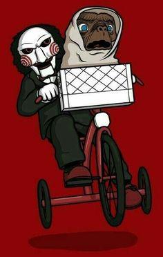 Poor E. Jigsaw took his bike. - Coldplay Funny - Coldplay Funny meme - - Poor E. Jigsaw took his bike. The post Poor E. Jigsaw took his bike. appeared first on Gag Dad. Horror Cartoon, Funny Horror, Horror Icons, Cartoon Art, Scary Movies, Horror Movies, Funny Art, Funny Memes, Jigsaw Movie