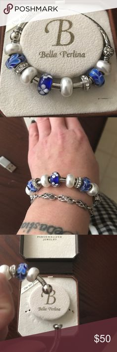 Bangle blue Silver bangle with blue and silver charms!! Jewelry Bracelets