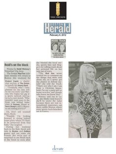 2-9-12 Boston Herald Inside Track featuring Heidi Watney