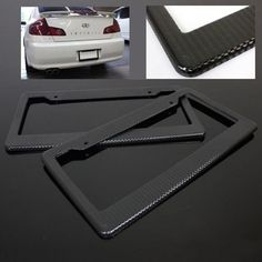 2 Pcs Universal Black Carbon Fiber Printed Style Front/ Rear License Plate Frame -- & One pair two pcs JDM Racing style Plastic License Plate Frame Black ...