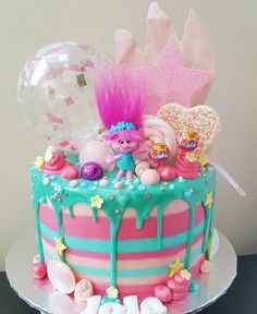 With cookies and sprinkles minus the candy? With cookies and sprinkles minus the candy? 4th Birthday Parties, Birthday Fun, Trolls Cake Birthday, Birthday Ideas, Girls 2nd Birthday Cake, Bolo Artificial, Fete Emma, Troll Party, Bday Girl