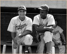 Roy Campanella & Jackie Robinson, Brooklyn Dodgers two of the Best! Baseball Star, Dodgers Baseball, Baseball Players, Baseball Cards, Mlb Players, Jackie Robinson, Let's Go Dodgers, Dodgers Nation, Vietnam