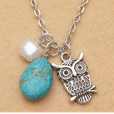 Owl and Green Turquoise Pearl Necklace from Picsity.com