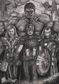 & # The Avengers & # Graphite drawing of Pen-Tacular-Artis … on deviantART - Top 99 Pencil Drawings Marvel Avengers Comics, Hulk Avengers, Marvel Art, Drawing Cartoon Characters, Character Drawing, Cartoon Drawings, Avengers Drawings, Avengers Tattoo, Graphite Drawings