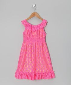 Take a look at this Pink & Lime Polka Dot Dress - Toddler & Girls by Rare Editions on #zulily today!